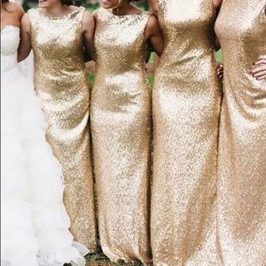 no brand Dresses - Gold glitter bridesmaid prom gown